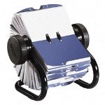 Rolodex Rotary Business Card File, 300 Sleeves, 600 Card Cap., 24 Guides, Black