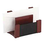 Rolodex Mahogany Wood & Black Leather Desk Sorter, 6 3/4w x 3 5/8d x 4 3/4h
