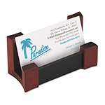 Rolodex Mahogany Wood & Black Leather Business Card Holder, 4 1/8 w x 1 7/16d x 2 1/4h