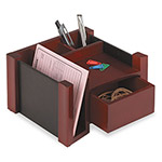 Rolodex Mahogany Wood & Black Leather Desk Director, 7 1/8 w x 6 11/16d x 4 1/8h