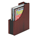 Rolodex Mahogany Wood & Black Leather Magazine File, 3 1/2w x 10d x 11 13/16h