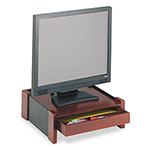 Rolodex Mahogany Wood & Black Leather Monitor Stand, 14 7/16w x 13 7/16d x 5 1/8h