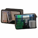 "Rolodex Large Bin, Mesh, Accommodates 5"" x 8"" Index Cards, Black"