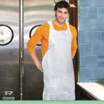 Royal   Poly Apron, White, 28 in. x 46 in., 100/Pack, One Size Fits All, 10 Pack/Carton