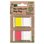 Redi-Tag/B. Thomas Enterprises Recycled Page Flags in Pop-Up Dispenser, 1 x 1-7/10, Blue/Red, 50 per Pack