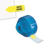 Redi-Tag/B. Thomas Enterprises Arrow Message Flags for Right Side, SIGN HERE, Yellow, 120/Refillable Dispenser