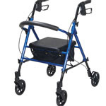 Drive Medical Adjustable Height Four Wheel Rollator, Blue