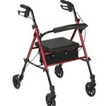 Drive Medical Adjustable Height Four Wheel Rollator, Red