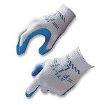 R3 Safety Fit Gloves, Natural Rubber, Large, Blue/Gray