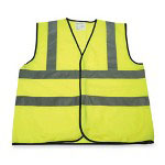 R3 Safety Rawhide Safety Vests, Large, Yellow w/ Reflective Strips