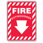 "R3 Safety Red/White Sticker Sign, ""Fire Extinguisher"", 10"" x 14"""