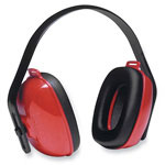 R3 Safety Ear Muffs, 3-Positions, Adjustable Crown, Red/Black
