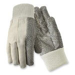 R3 Safety Natural Cotton Gloves, w/Dots On Palm/Thumb/Forefinger, Large