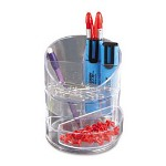 Small Storage Plastic Divided Pencil Cup, Clear, 4-1/2 Dia. x 5 3/4H