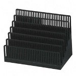 Note Rack, 6 Tiered Compartments, 8 1/4w x 4 3/4d x 6h, Black