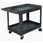 "Rubbermaid 55"" x 25"" x 33"" Black Utility Cart, Heavy Duty, 2 Shelves"