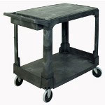"Rubbermaid 38"" x 19"" x 33"" Flat Shelf Cart, 2 Shelves, Black"
