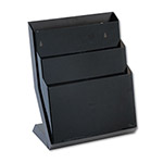 "Rubbermaid Three Pocket Desktop Stand, 16"" High, Letter Size, Smoke"