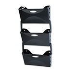 Rubbermaid Three Pocket Wall File Set, Letter Size, Black