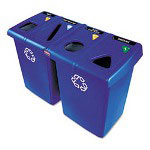 Rubbermaid Blue Recycling Station, 92 Gallon