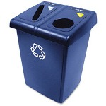 Rubbermaid Glutton Recycling Station, Rectangular, Plastic, 46 gal, Blue