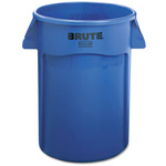 Rubbermaid Brute Vented Trash Receptacle, Round, 44Gal, Blue