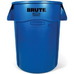 Rubbermaid Blue Brute Vented Trash Receptacle, Round, 44 Gallon