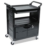 Rubbermaid Utility Cart w/Locking Doors, 2-Shelf, 200lbs, 33-5/8 x 18-5/8 x 37-3/4, Black