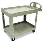 Rubbermaid Heavy Duty 2 Shelf Utility Cart, Structural Foam, 26w x 45d x 33h, Beige