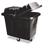 Rubbermaid Cube Truck Plastic/Metal Wheeled Trash Can, 400 Liter, Black
