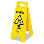 "Rubbermaid Floor Sign: "" Caution Wet Floor, "" Yellow Plastic, 11w x 1 1/2d x 26 1/2h"