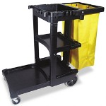 Rubbermaid Black Janitor Cart with 25-Gallon Vinyl Bag and 3 Shelves
