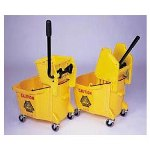 Rubbermaid Mobile Plastic Bucket & Wringer Combo, Yellow, 35 Quart