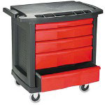 Rubbermaid Five Drawer Mobile Workcenter with Locking Bar, Black with Red Drawers