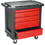 Rubbermaid Five-Drawer Mobile Workcenter, 32-5/8w x 19-7/8d x 33-1/2h, Black Plastic Top