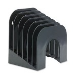 Six-Tier Jumbo Incline Sorter, Plastic, 9-3/8W x 10-1/2D x 7-3/8H, Black