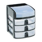 "Mini Storage Drawers with Flip Top Lid, 8 3/4"" High, Black with 3 Clear Drawers"