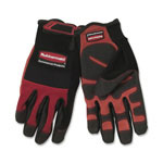 Rubbermaid 9H0000RD Heavy Duty Black and Red Gloves with Padded Knuckles and Adjustable Strap, Large