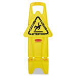 Rubbermaid Stable Multi-Lingual Safety Sign, 13w x 13 1/4d x 26h, Yellow