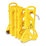 Rubbermaid Portable Mobile Safety Barrier, 16 Panels, 2 Wheels, Bright Yellow