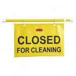 "Rubbermaid Sign, Safety, ""Closed for Cleaning"", Extends 49 1/2"", Yellow"