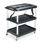 Rubbermaid Media Master AV Cart, 3-Shelf, 18-3/4 x 32-3/4 x 33, Black
