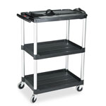 Rubbermaid Media Master AV Cart, 3-Shelf, 18-3/4 x 32-3/4 x 42, Black