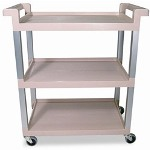 Rubbermaid Service Cart w/Brushed Aluminum Uprights, 3-Shelf, 16-1/4 x 31-1/2 x 36, Beige