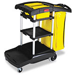 Rubbermaid High Capacity Cleaning Cart, 21-3/4 x 49-3/4 x 38-3/8, Black