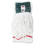 Rubbermaid Web Foot Shrinkless Looped-End Cotton/Synthetic Wet Mop Head, Medium, Green