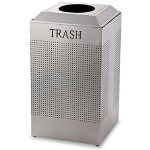 United Receptacle Silver Recycling Bin, 29 Gallon