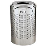 United Receptacle Round Steel Indoor Trash Can, 26 Gallon, Silver