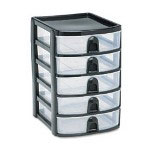Mini 5-Drawer Tower, Plastic, 7-1/8W x 8-3/8D x 9-3/4H, Black/Clear
