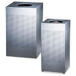 United Receptacle Square Steel Indoor Trash Can, 16 Gallon, Silver